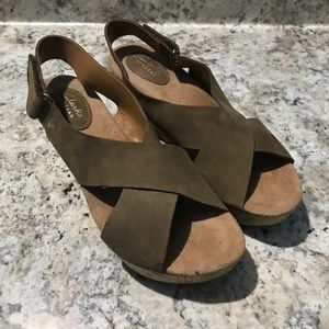 Clark's Strappy Suade Wedges